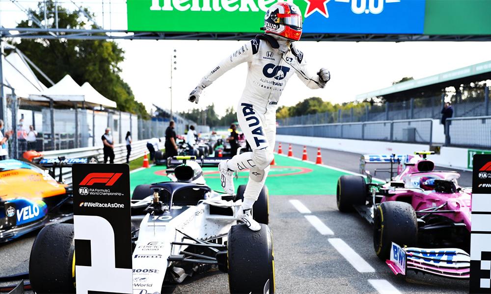 Gasly phấn khích sau lần đầu tiên trong sự nghiệp thắng chặng F1. Ảnh: F1
