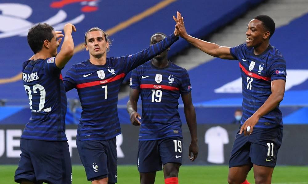 Griezmann (số 7) là điểm sáng hiếm hoi của tuyển Pháp trước Croatia hôm 8/9 khi góp một bàn, một kiến tạo, bốn đường chuyền quyết định và tạo ra hai cơ hội ngon. Ảnh: LÉquipe