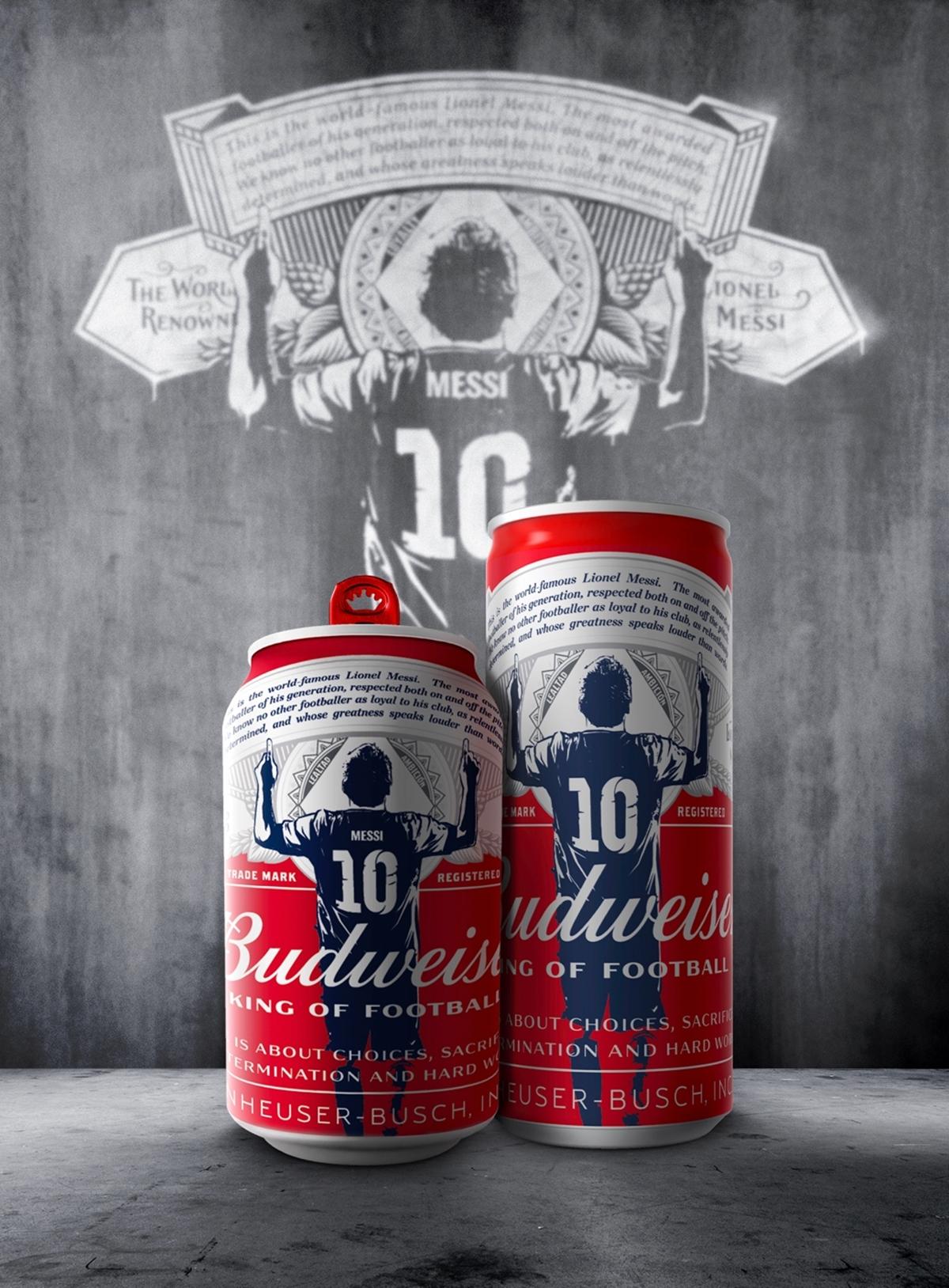 Lon bia mới in câu nói nổi tiếng của Messi. Ảnh: Budweiser.
