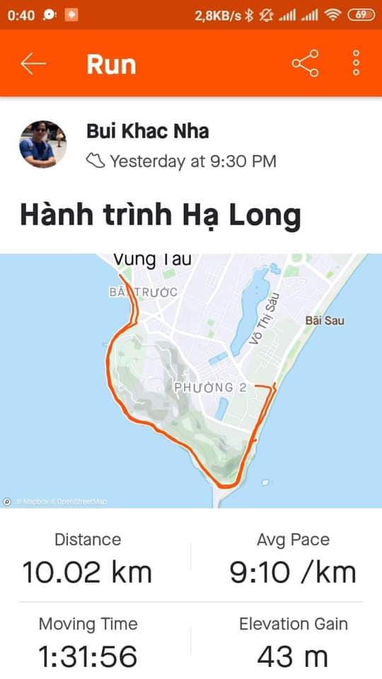 Runner Bui Khac Nha đăng bức ảnh hoàn thành cự ly 10 km trong vòng một tuần đăng ký tham gia giải chạy Brave Đà Nẵng.
