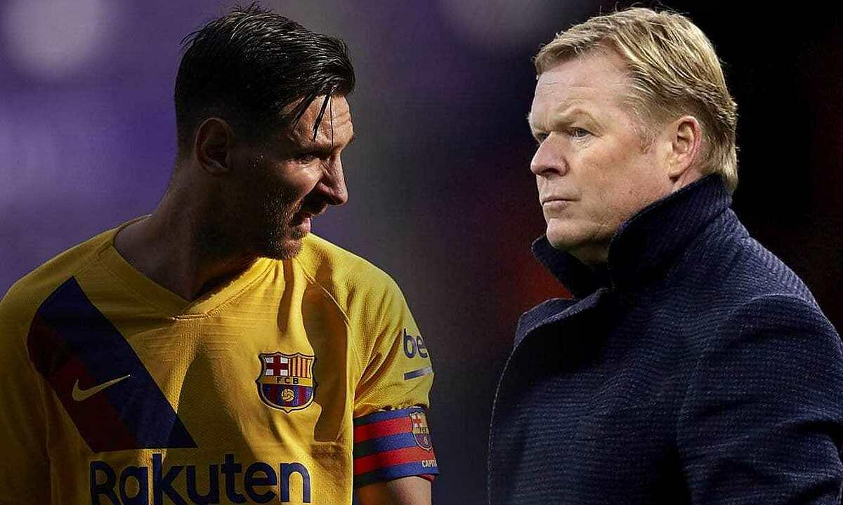 Koeman (phải) phủ nhận mâu thuẫn với Messi. Ảnh: Marca