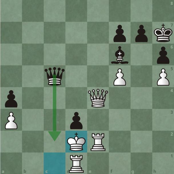 Carlsen tiếp tục đưa hậu xuống c2 chiếu. Vua trắng không thể lên e3, vì sẽ mất cả đôi xe. Vua phải chạy về e1, nhưng Carlsen vẫn chưa buông tha cho nó.