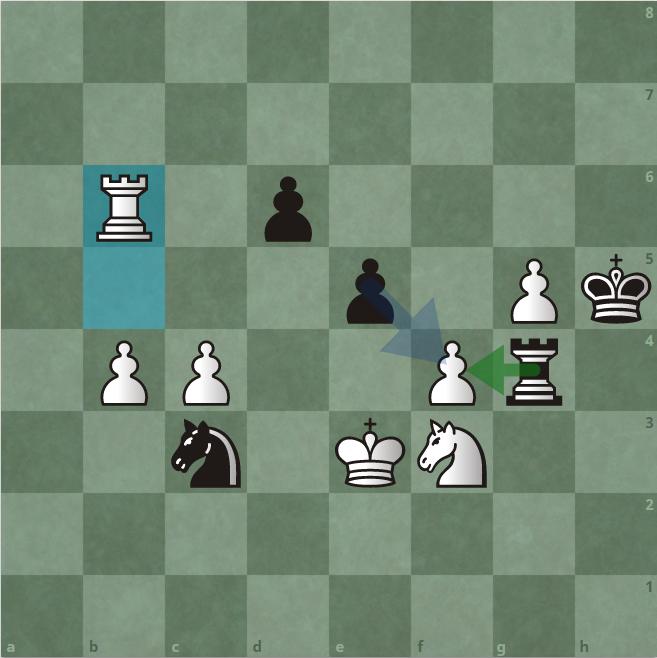 Thế cờ sau 48.Rb6. Trắng còn 79 giây, còn Đen chỉ còn 30 giây. Đen có hai lựa chọn bắt tốt f4, là dùng tốt e5 và dùng xe g4. Carlsen chọn phương án thứ hai, và sai lầm.