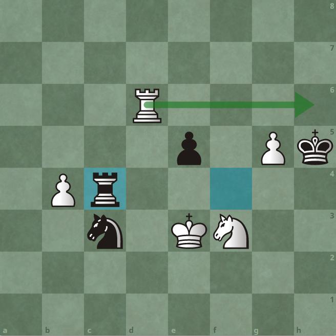 50.Rh6 chiếu. Lý do Trắng chịu mất tốt c4 là đây. Vua đen lúc này chỉ còn đường về g4.
