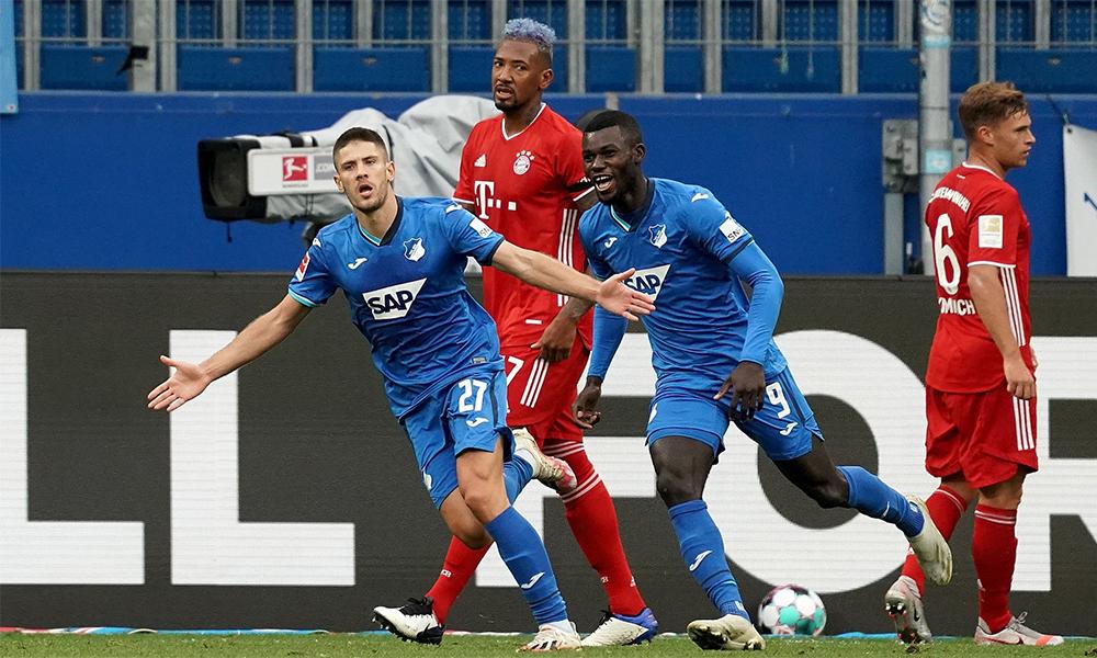 Kramaric mừng bàn nâng tỷ số lên 3-1 cho Hoffenheim trước Bayern hôm 27/9. Ảnh: Bundesliga