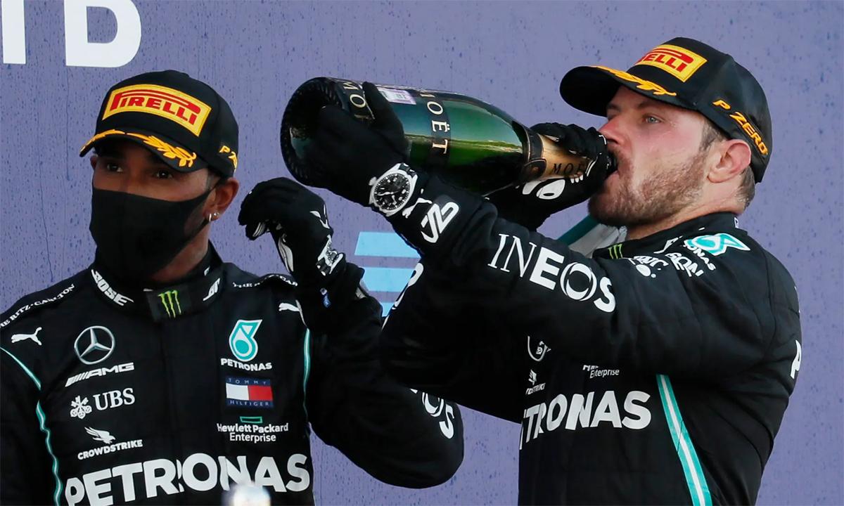 Về ba tại Grand Prix Nga, Hamilton lỡ mất cơ hội bắt kịp kỷ lục 91 chiến thắng chặng của huyền thoại Schumacher. Ảnh: Reuters