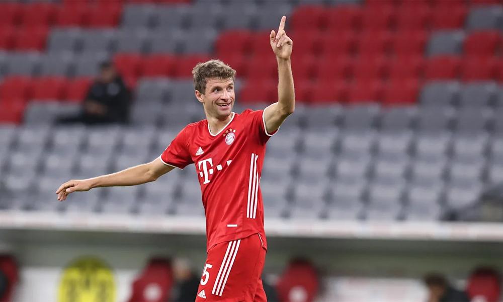Muller mừng bàn nâng tỷ số lên 2-0 trước Dortmund ở trận tranh Siêu Cup Đức hôm 30/9. Ảnh: FCB.de