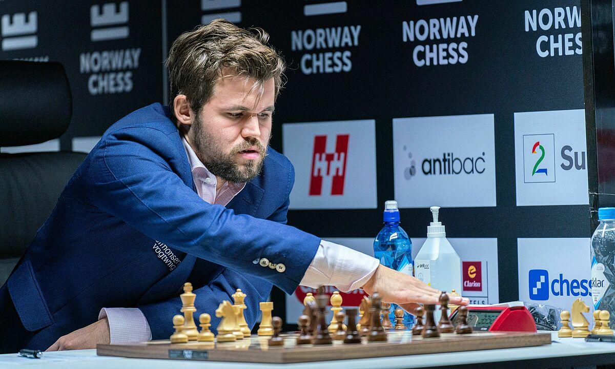 Carlsen tăng một Elo sau sáu ván cờ tiêu chuẩn ở siêu giải Na Uy. Ảnh: Lennart Ootes/Norway Chess
