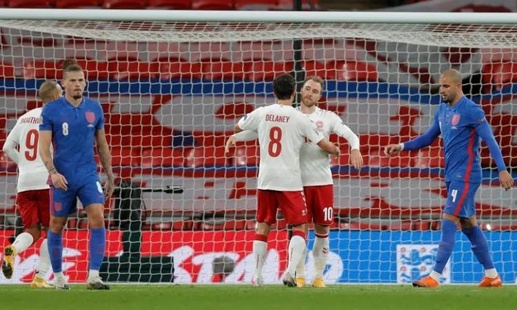 Eriksen đánh dấu màn trở lại nước Anh ở trận thứ 100 khoác áo đội tuyển bằng một bàn thắng. Ảnh: Pool.