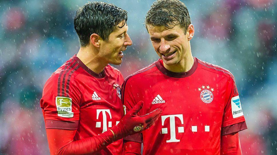 Muller (phải) và Lewandowski là cặp đôi ăn ý ở Bayern. Ảnh: Bundesliga.