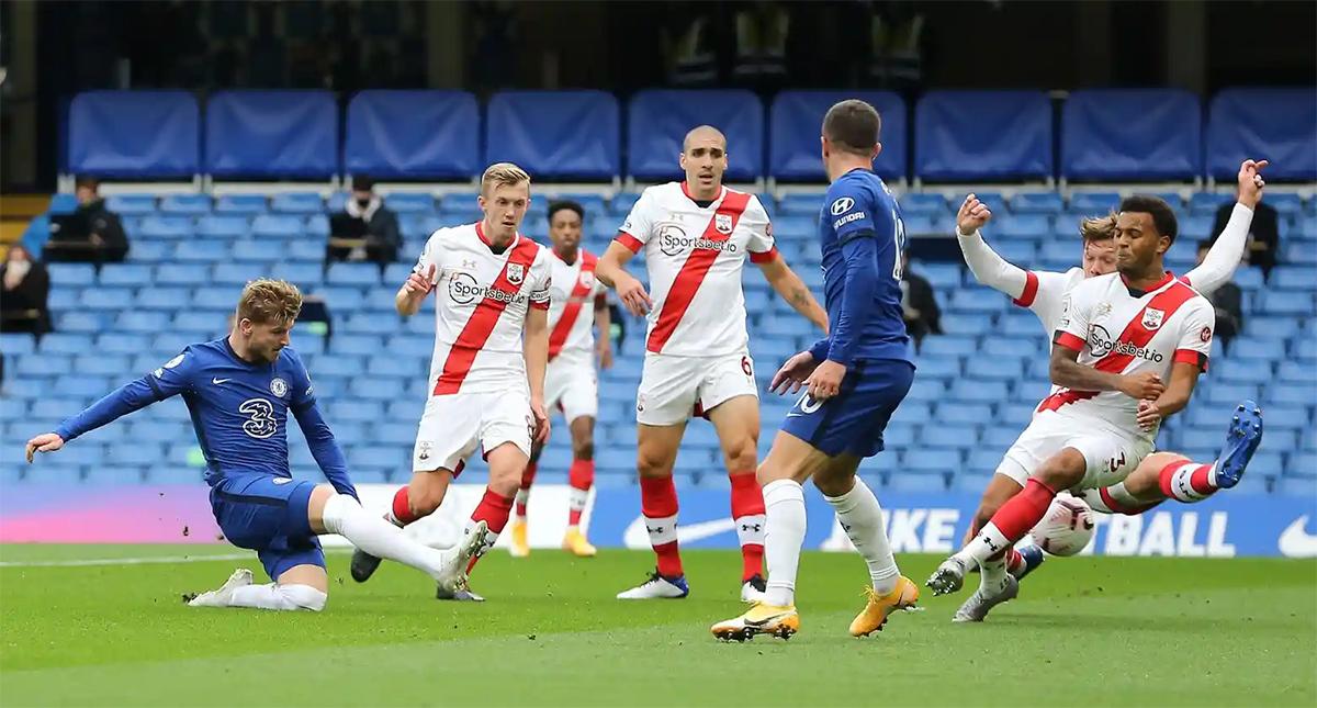 Werner trong tình huống mở tỷ số cho Chelsea trên sân Stamford Bridge ngày 17/10. Ảnh: BPI