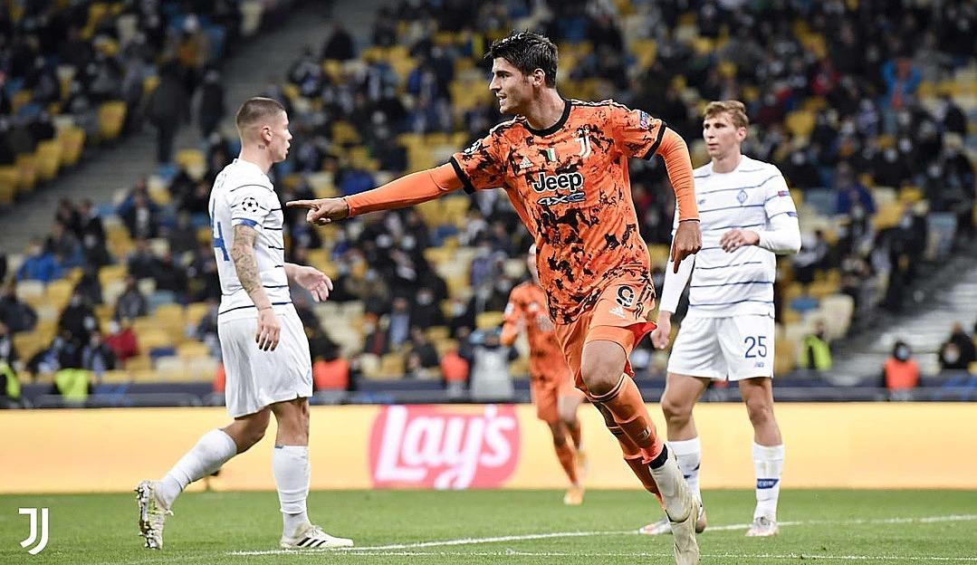 Morata (cam) mừng bàn ấn định tỷ số. Ảnh: Juventus.