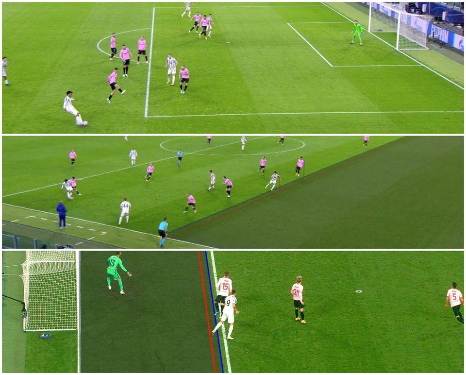 Ba tình huống Morata mắc lỗi việt vị và không được VAR công nhận bàn thắng.