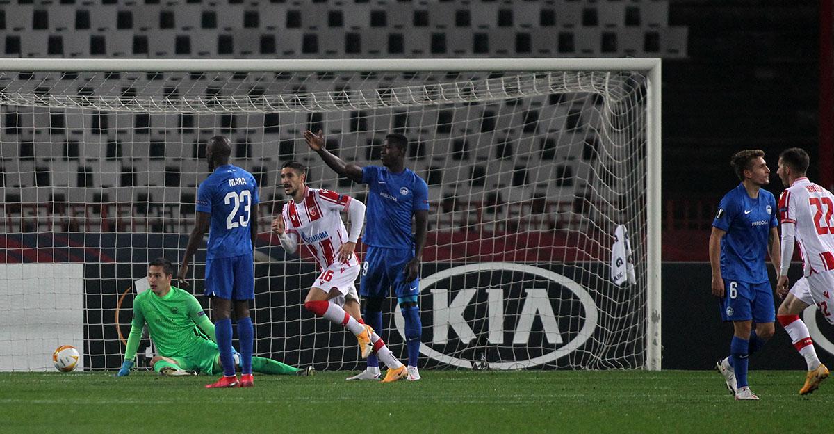Thủ môn Filip Nguyễn thẫn thờ sau khi nhận bàn thua trong trận đấu Sao đỏ Belgrad. Ảnh: FC Slovan.