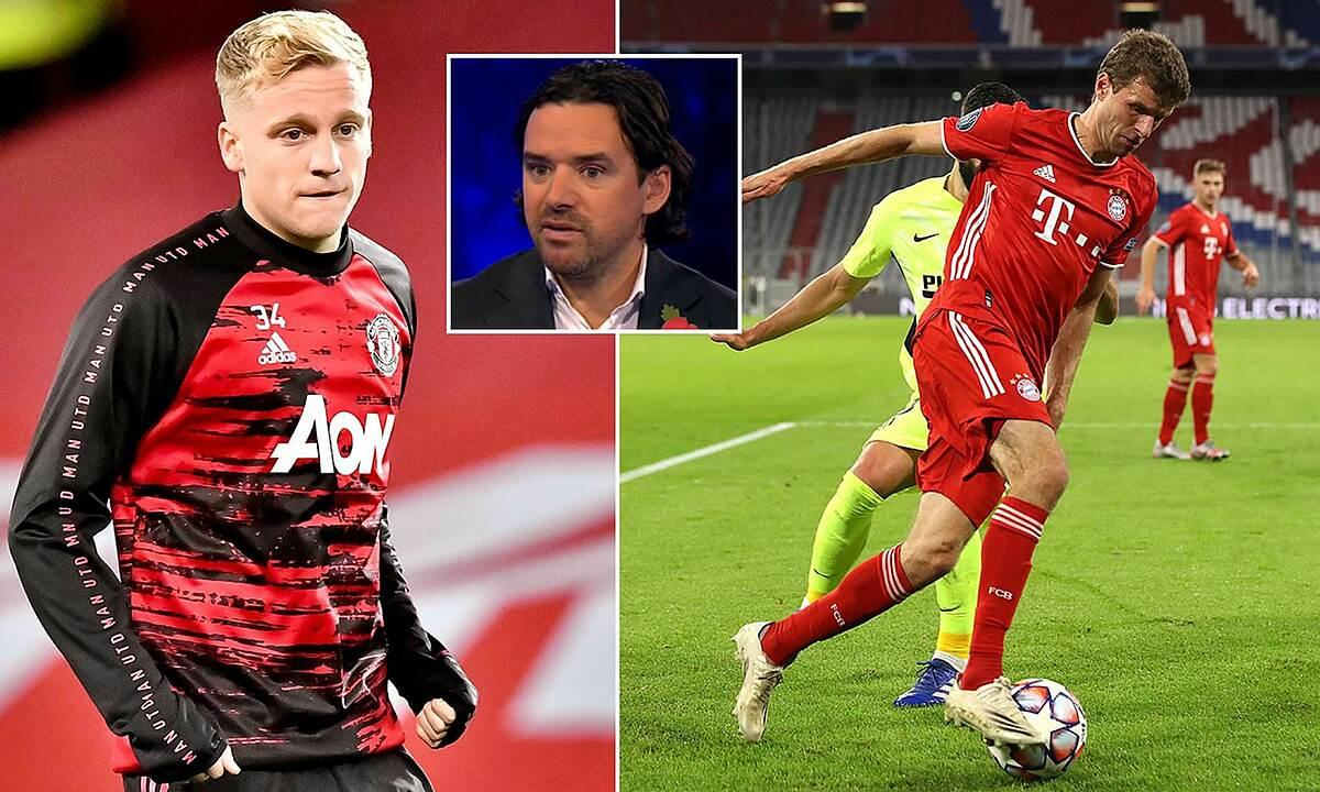 Van de Beek (trái) tạo ra hai cơ hội, và ba lần qua người ở trận gặp Leizpig. Ảnh: Sportsmail