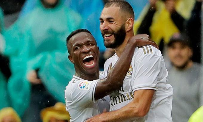 Vinicius và Benzema thi đấu cùng nhau từ mùa 2018-2019. Ảnh: Reuters.