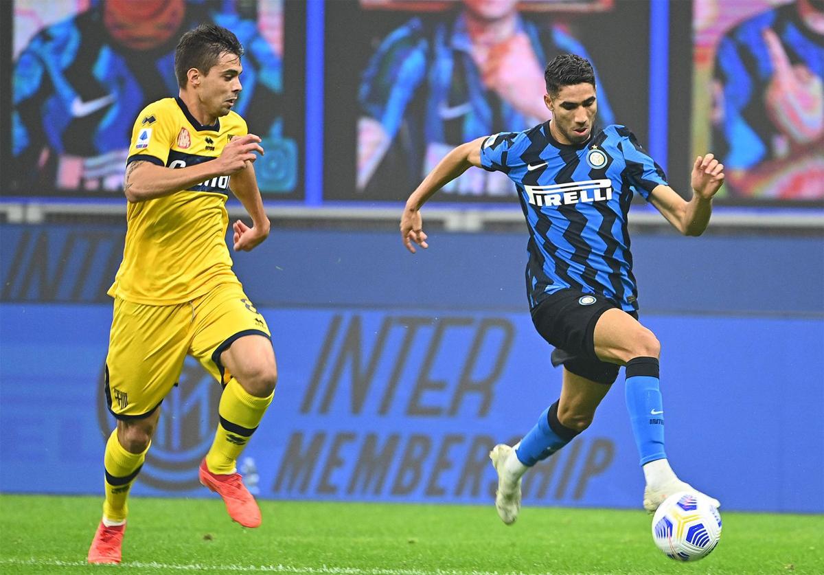 ตอนนี้ Hakimi เป็นอาวุธทรงพลังของ Inter ในทางเดินด้านขวา  ภาพ: AFP.