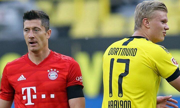 Haaland (ขวา) สูง 1m94 สูงกว่า Lewandowski 10 ซม.  ภาพถ่าย: `` Pool
