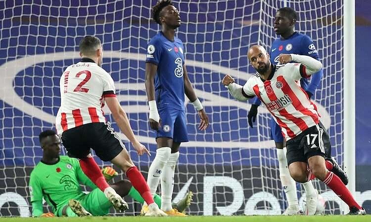 McGoldrick ทำให้ Mendy เข้าสู่ตาข่ายเป็นครั้งแรกในรอบหกเกม แต่ล้มเหลวในการช่วยให้ Sheffield ได้รับคะแนน  ภาพ: Reuters