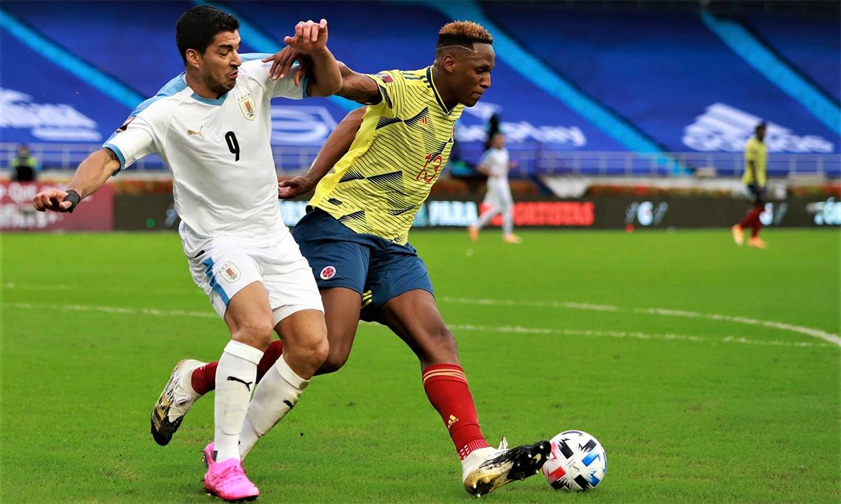 Mina is a criminal of Colombia this match.  Photo: Selección Uruguaya