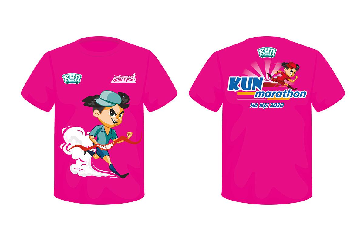 Áo thi đấu cho runner nhí Kun Marathon Hanoi 2020 màu hồng, in nhân vật hoạt hình sinh động.