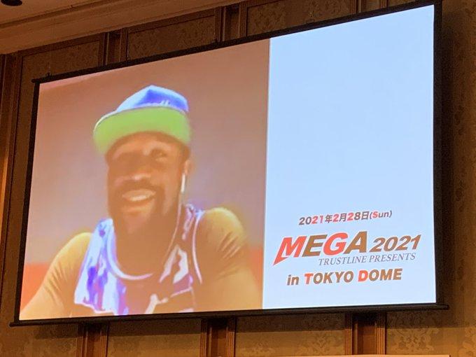 Hình ảnh Mayweather xuất hiện trong buổi họp báo giới thiệu sự kiện Mega 2021. Ảnh: talk Sport.