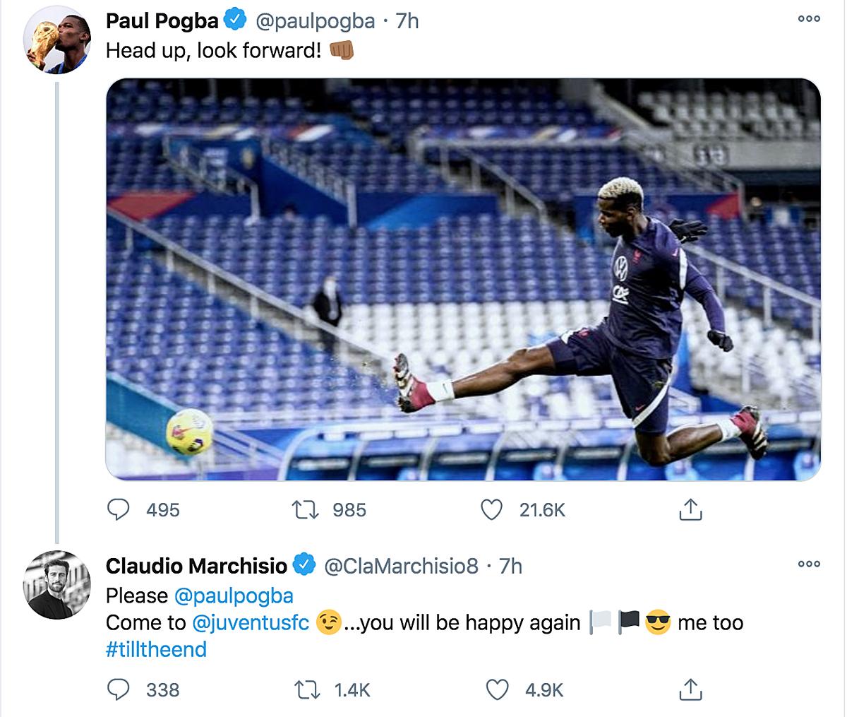 Marchisio bình luận bên dưới bài đăng của Pogba.