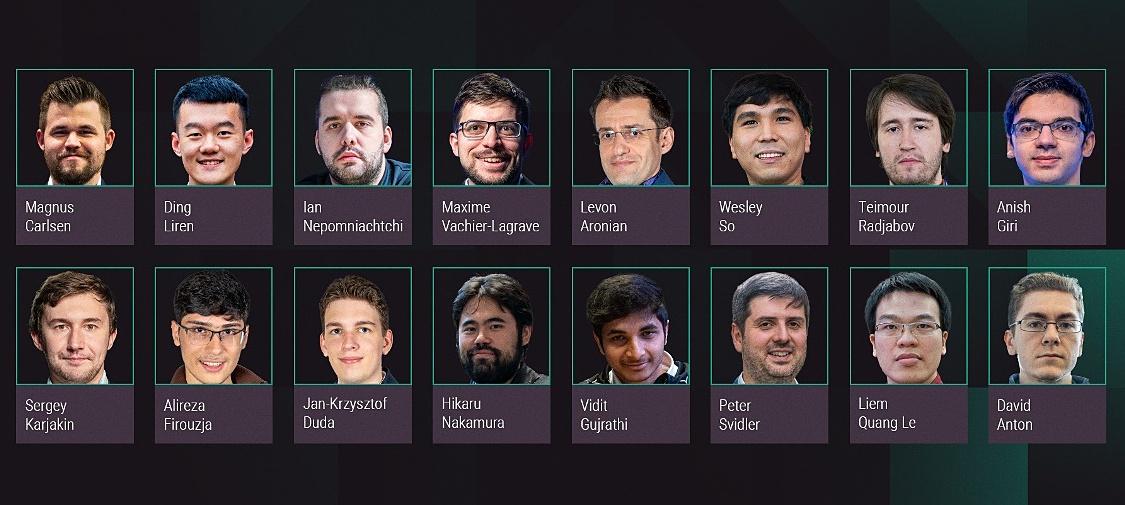 16 kỳ thủ dự Skilling Open 2020. Ảnh: Chess24