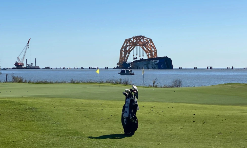 The shipwreck Golden Ray accidentally became a highlight for the Sea Island landscape when golfers came here to compete in RSM Classic.  Photo: Golfweek