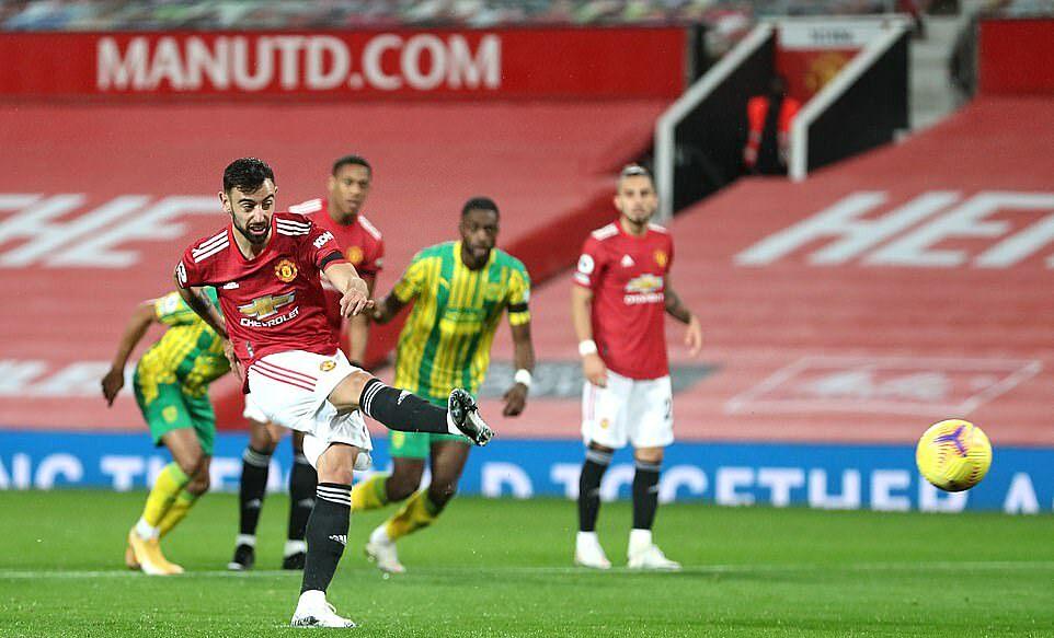 Bruno Fernandes ghi 6 bàn tại Ngoại hạng Anh mùa này, nhiều nhất trong đội hình Man Utd. Ảnh: PA.
