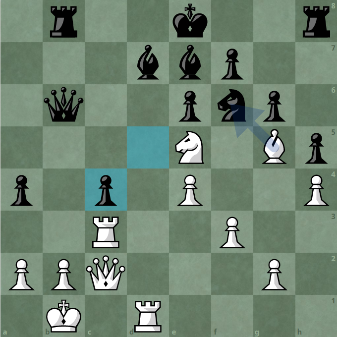 In the case that Black captures the statue c4, White uses the statue to capture the code f6, eliminates the guard d7.