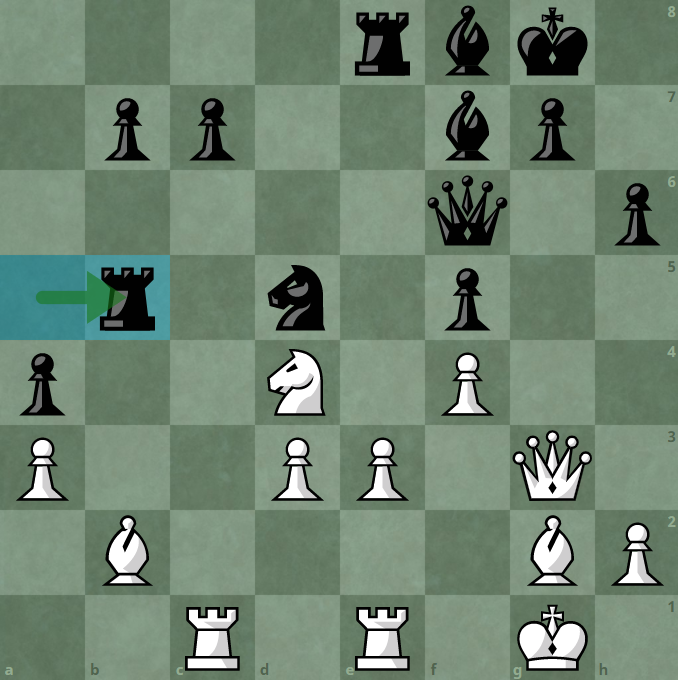 29 ... Rxb5, Quang Liem's first move, only after a second thought.  Black left the car, exchanged for b2 statue.  Nakamura accepted the strike immediately.