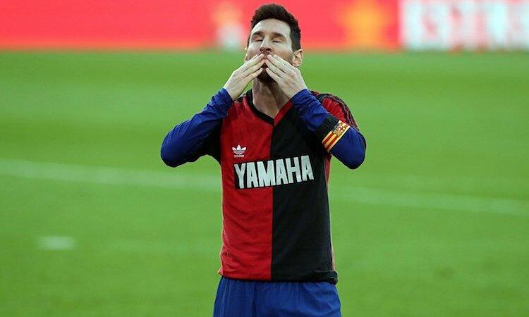 Messi ระลึกถึง Maradona ด้วยเสื้อหมายเลข 10 ของ Newells Old Boys  ภาพ: Barcelona FC.