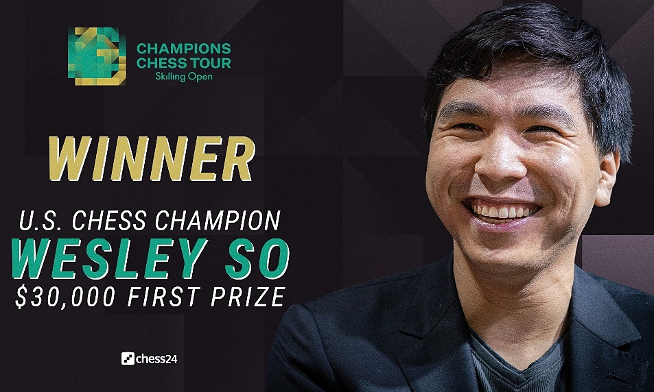 Wesley So - the 2020 American champion - suddenly defeated Carlsen in the Skilling Open final.  He became the first player to win against Carlsen in the Champions Tour final.  Photo: Chess24