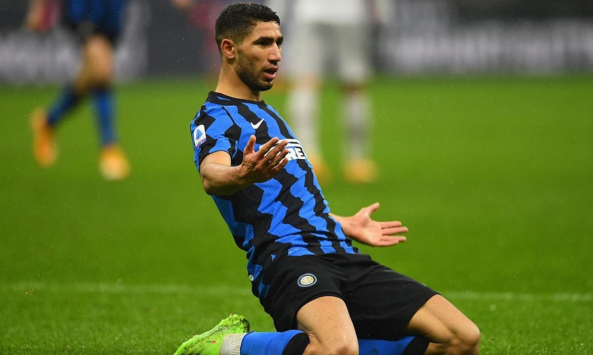 Hakimi mừng bàn ấn định thắng lợi 3-1 cho Inter. Ảnh: Twitter / archraf hakimi
