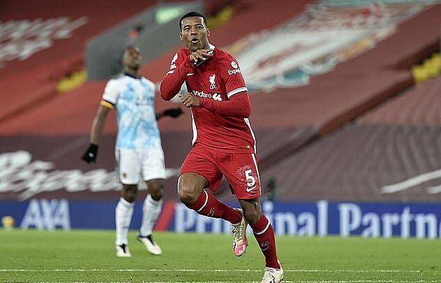 Wijnaldum ghi bàn đầu tiên mùa này ở trận thắng Wolverhampton. Anh dần chiếm lại vị trí chính thức, với xáo trộn đội hình ở Liverpool. Ảnh: AP