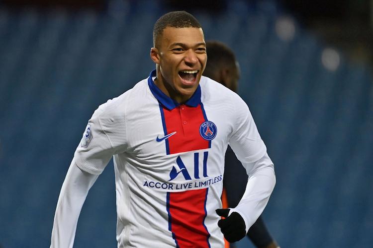 Mbappe vừa ghi bàn thứ 100 cho PSG trong trận thắng Montpellier cuối tuần qua. Ảnh: AFP.