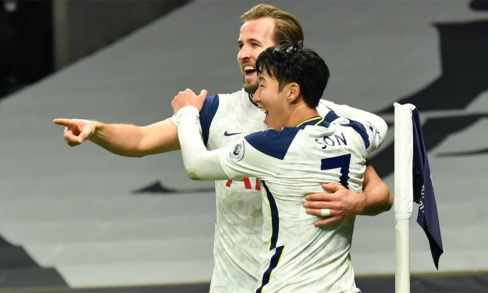 Kane và Son mừng bàn thắng trong trận hạ Arsenal 2-0 ở Ngoại hạng Anh cuối tuần qua. Ảnh: PA