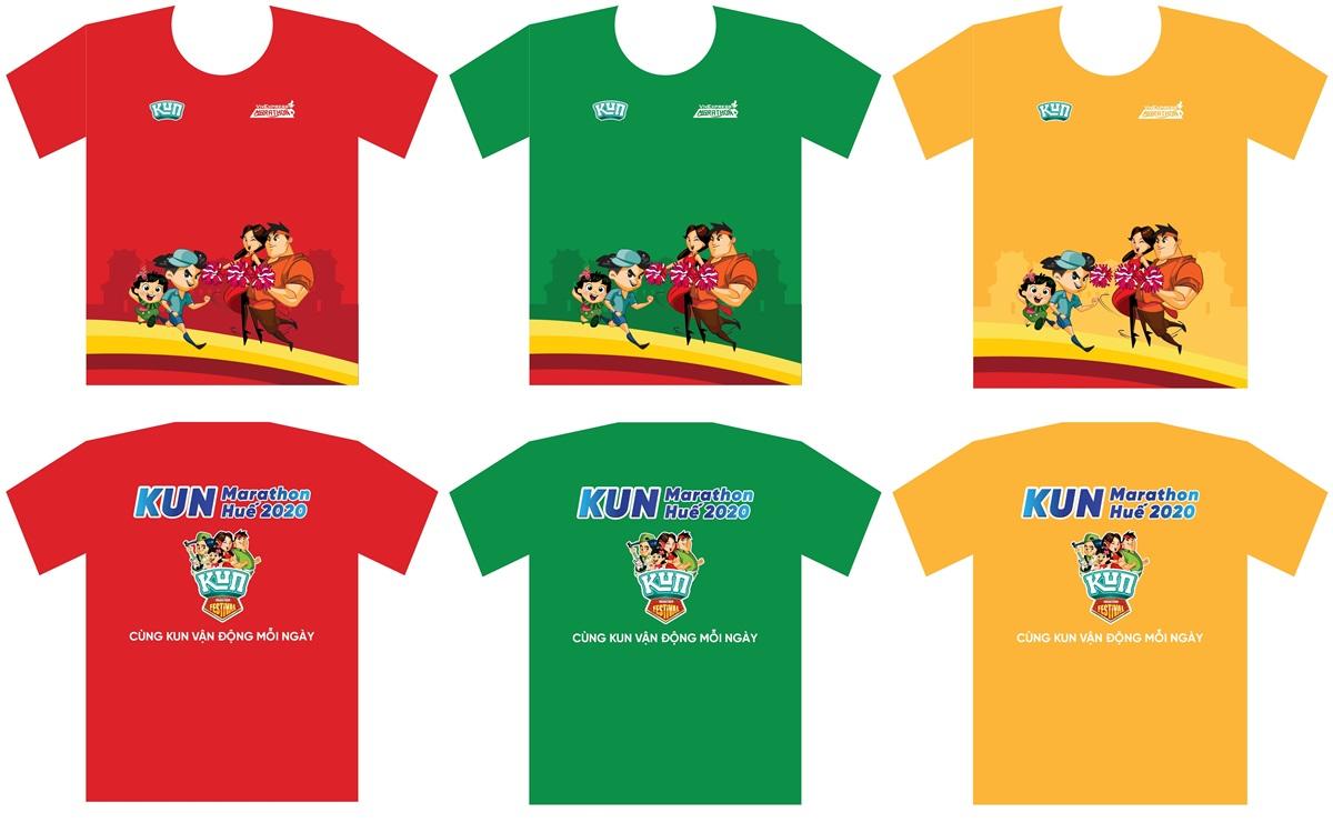 Shirt for child runner Kun Marathon Hue 2020 in vivid cartoon character.