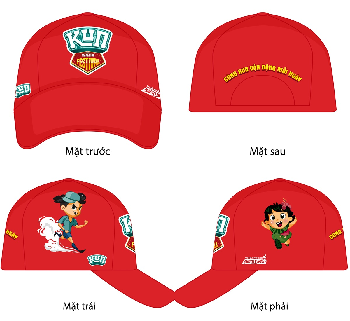Hats for child runner at Kun Marathon Hue 2020.