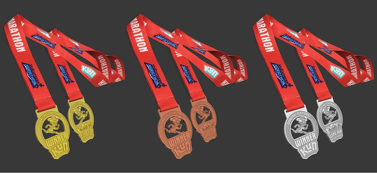 Medal for the group of runners with high rankings.  From left to right: top 1, top 2, top 3.