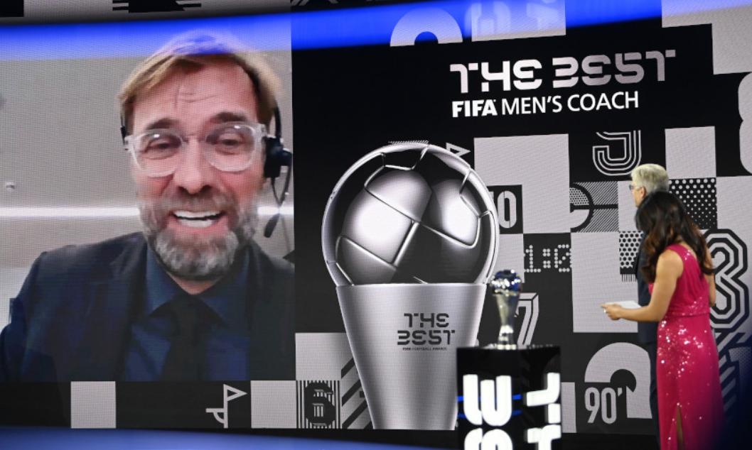 Klopp nói trong lễ trao giải The Best 2020. Ảnh chụp màn hình