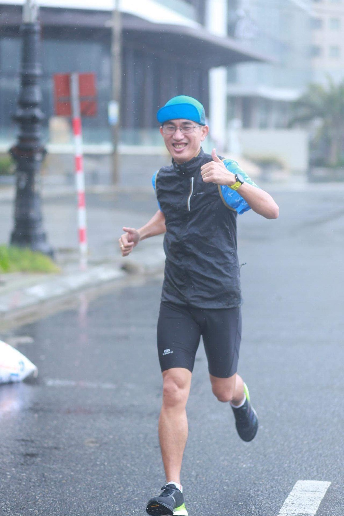 Trung Tran practices every day, even during the rainy sessions in Hue.