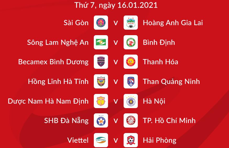 Lịch thi đấu vòng 1 V-League 2021.