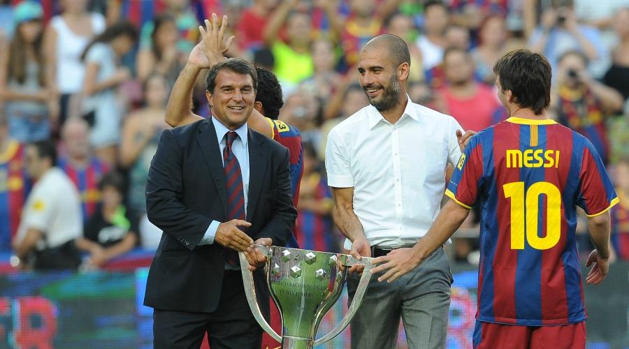 Laporta từng lên tột đỉnh vinh quang cùng Barca nhờ những hạt nhân như Guardiola, Messi trong giai đoạn đầu làm chủ tịch. Ảnh: Total Barca