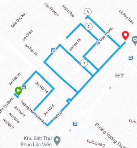 Tracklog của một vận động viên tại Đà Nẵng vẽ số 2021 chào mừng năm mới.