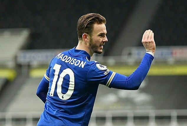 Maddison mencetak gol keempat di Liga Premier musim ini.  Termasuk gol dan assist, Maddison berada tepat di belakang Vardy di Leicester.  Foto: Reuters.