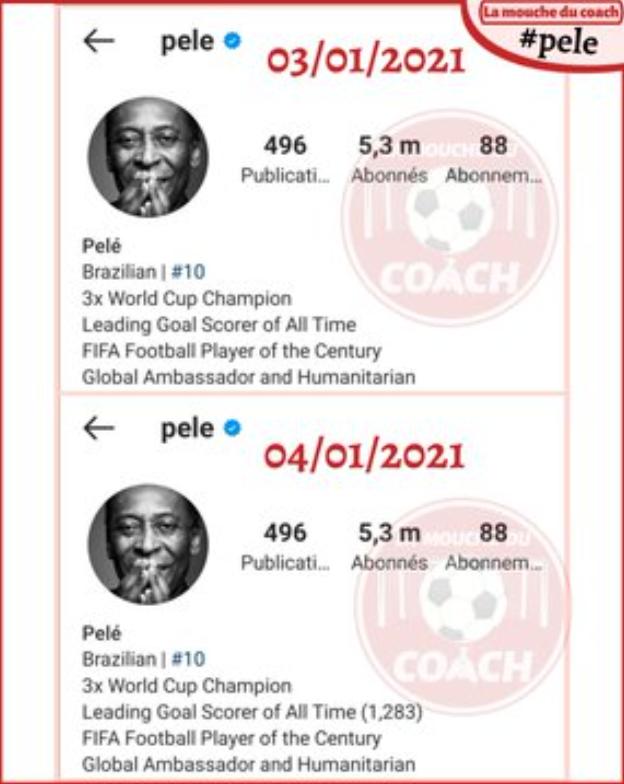 สถานะหน้าส่วนตัวของ Pele บน Instagram เมื่อวันที่ 3 มกราคมเทียบกับวันที่ 4 มกราคม  ภาพหน้าจอ