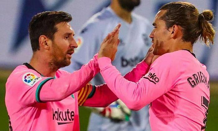 Performa penyelesaian buruk Messi (kiri) dan Griezmann, masing-masing 5,56 persen dan 9,68 persen, menjadi masalah Barca musim ini.  Foto: FCB