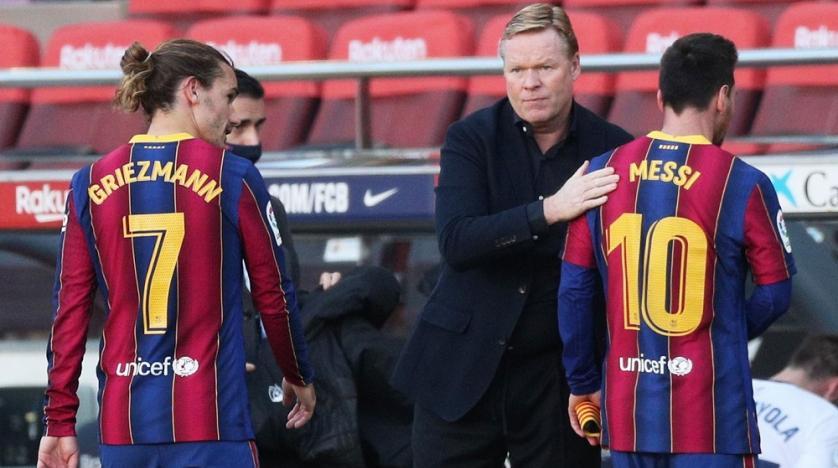 Griezmann dan Messi adalah dua bintang paling cemerlang yang dimiliki Koeman saat ini.  Foto: Reuters.